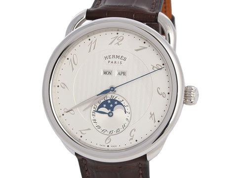 Hermès Mens Stainless Arceau Grande Lune Watch 43mm