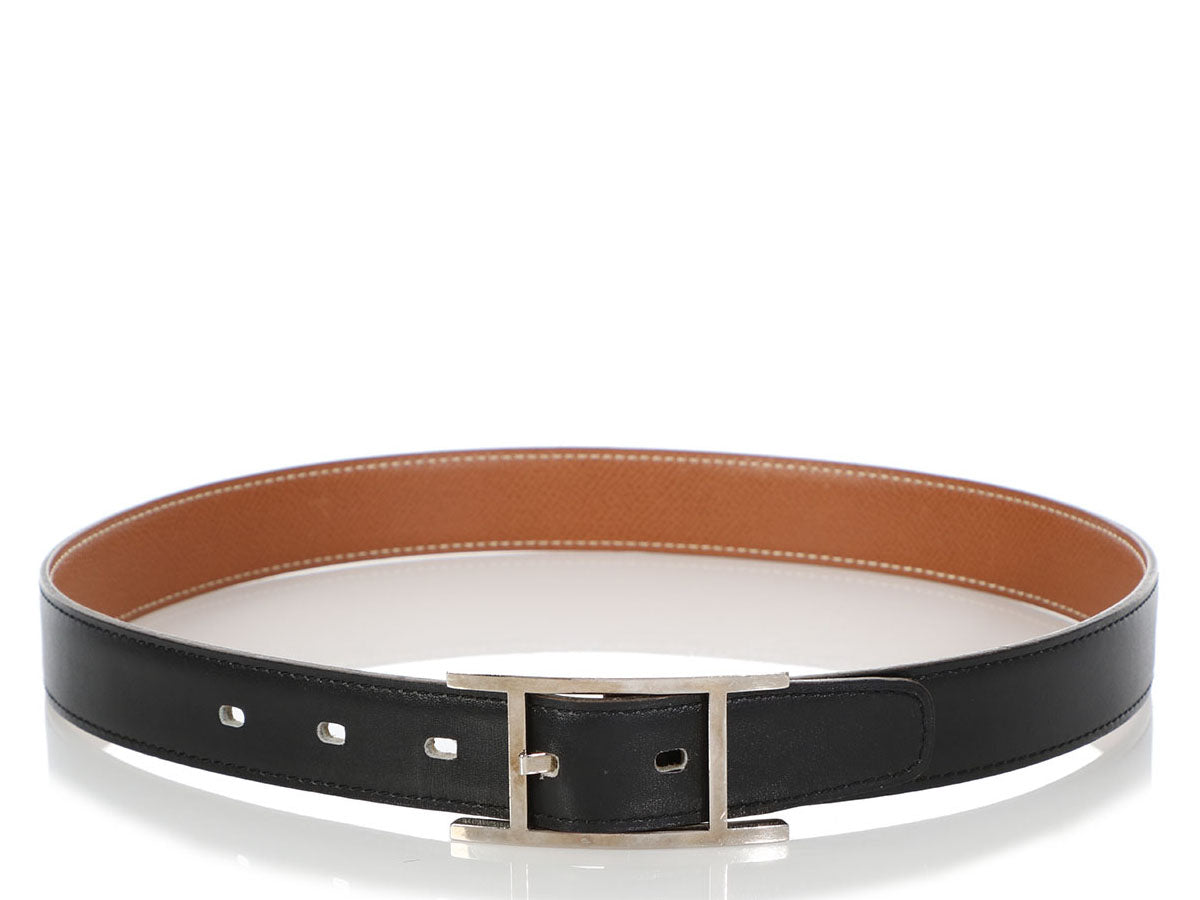 Hermès Black and Gold Quentin Reversible Belt