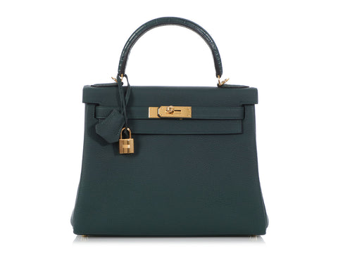 Hermès Vert Cypress Togo and Alligator Kelly Touch 28