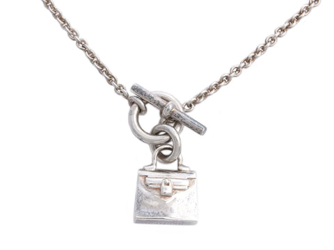 Hermès Sterling Silver Cadenas Kelly Pendant Necklace