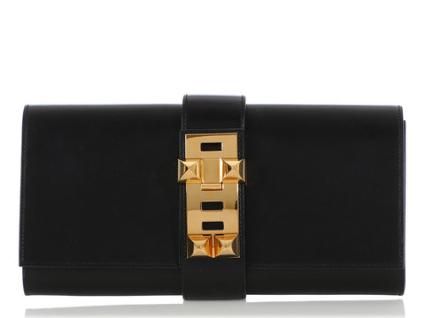 Hermès Black Box Calfskin Médor Clutch 29