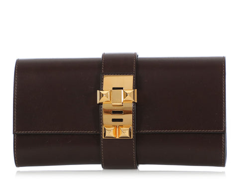 Hermès Brown Box Calfskin Médor Clutch 23