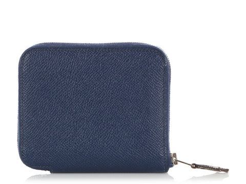 Hermès Blue Sapphire Epsom and Brazil Silk Compact Silk'in Wallet