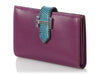 Hermès Violet Tadelakt and Bleu Pétrole Lizard Béarn Card Holder