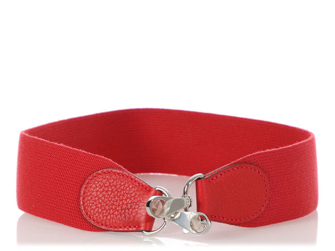 Hermès Rouge Casaque Clémence and Webbing Shoulder Strap 60cm