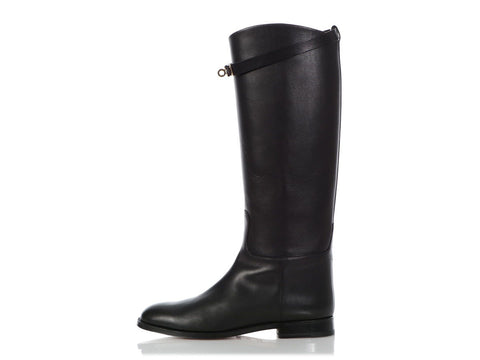 Hermès Black Leather Kelly Jumping Boots