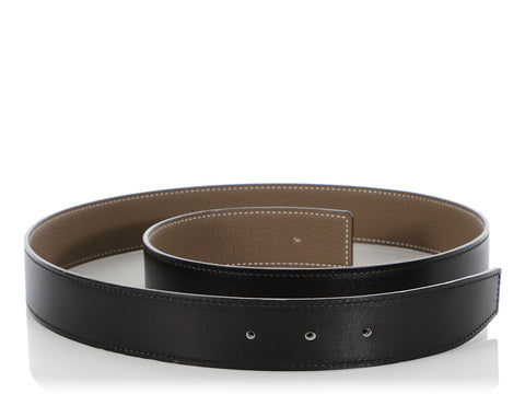 Hermès Black and Etain Reversible Belt Strap 32mm