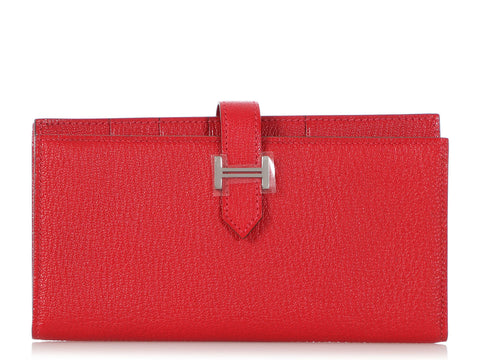 Hermès Red Chèvre Long Béarn Gusset Wallet