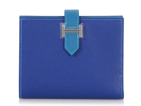 Hermès Two-Tone Blue Epsom Compact Béarn Wallet