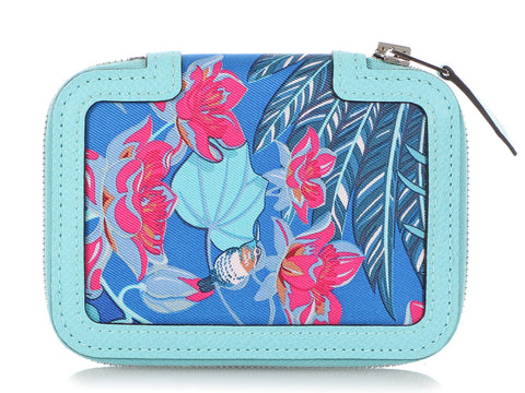 Hermès Flamingo Party Silk and Mykonos Bleu Atoll Epsom Soie-Cool Compact Wallet