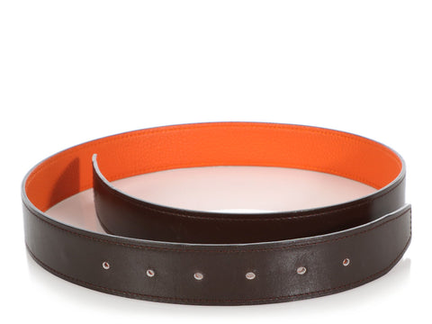 Hermès Chocolate and Orange Belt Strap 32mm