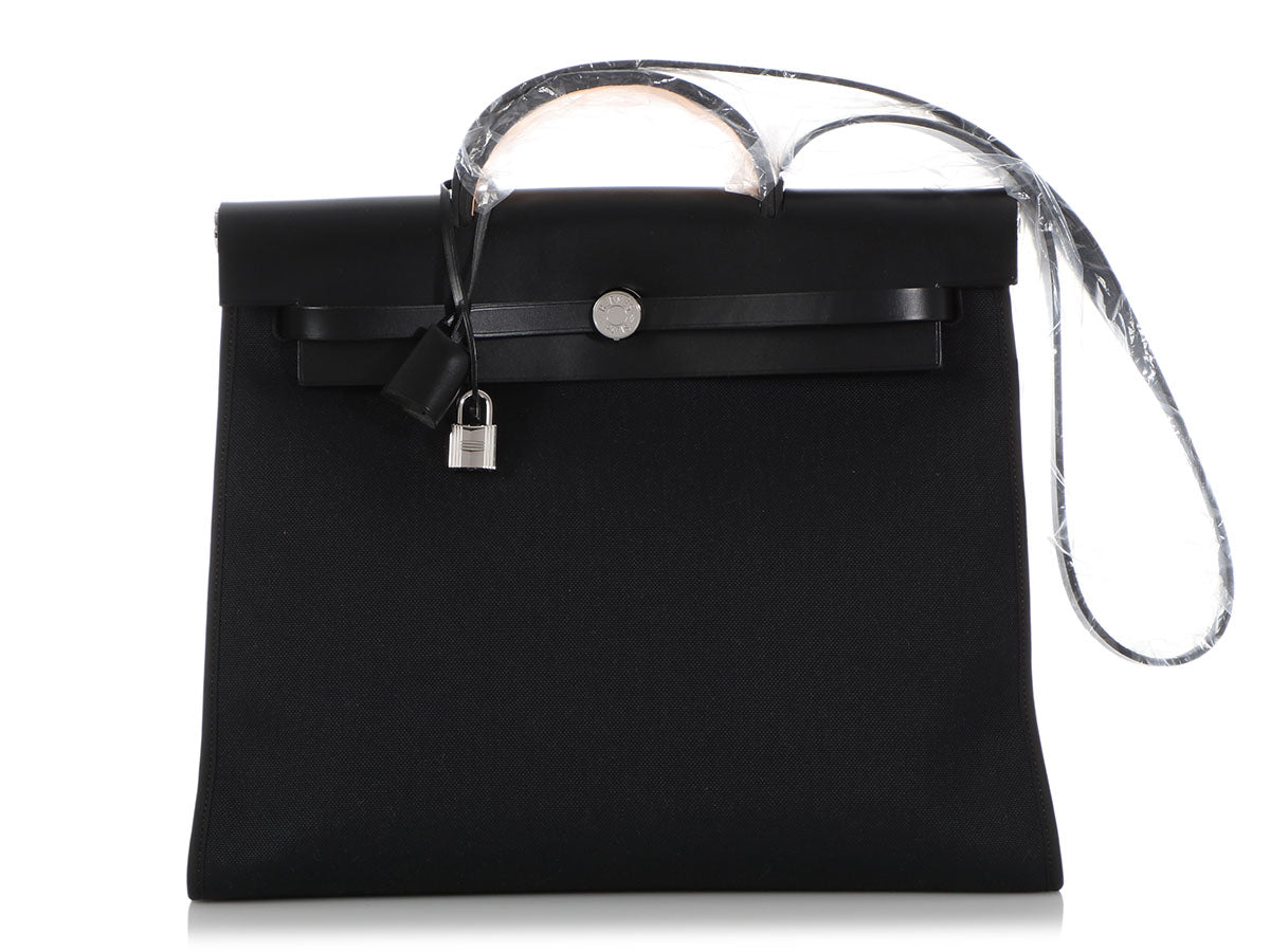 Hermès Black Toile Militaire and Vache Hunter Herbag Zip 40