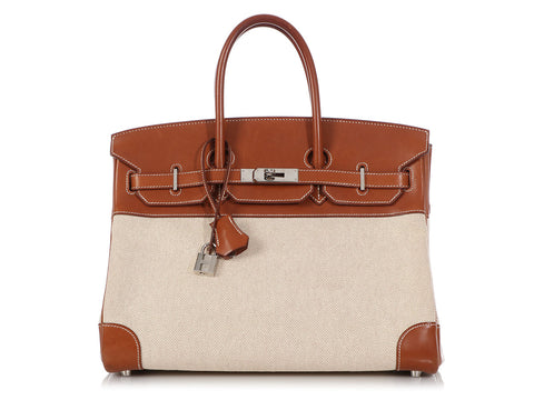 Hermès Barenia Natural and Toile Birkin 35