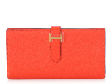 Hermès Orange Poppy Epsom Béarn Gusset Wallet