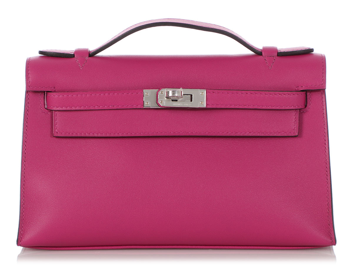 Hermès Rose Pourpre Swift Kelly Pochette
