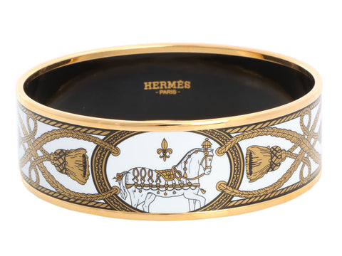 Hermès Wide Grand Apparat Enamel Bangle 70