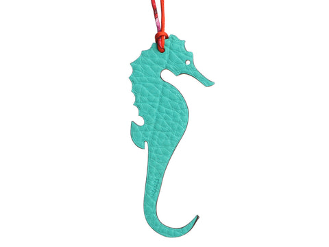 Hermès Tan Epsom and Blue Clémence Petit H Seahorse Bag Charm