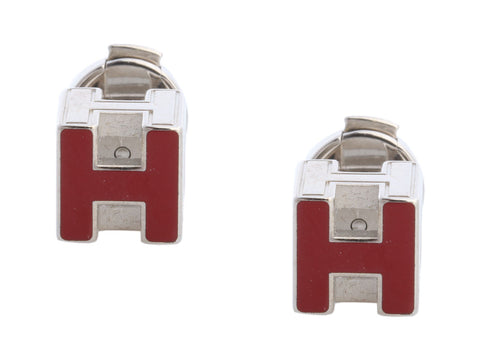 Hermès Red Enamel Cage d'H Cube Pierced Earrings