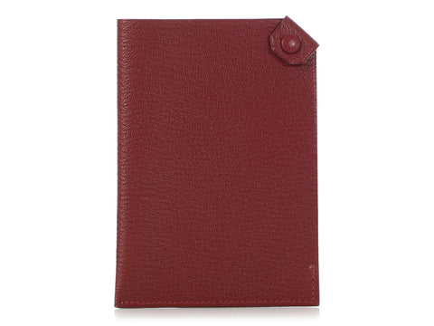 Hermès Rouge H Chèvre Tarmac Passport Holder