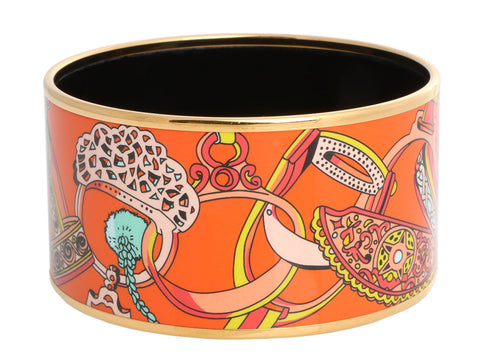Hermès Extra Wide Orange Concours d'Etriers Enamel Bangle 65