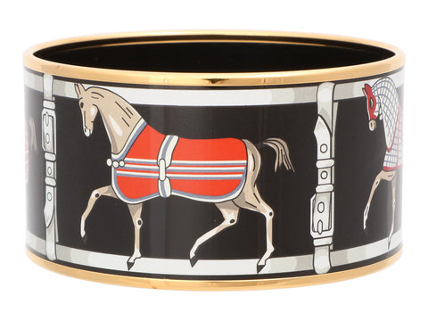 Hermès Extra Wide Horses Enamel Bangle 65