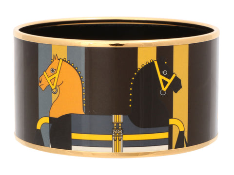 Hermès Extra Wide Double Horses Enamel Bangle 65