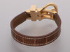 Hermès 18K Yellow Gold and Brown Matte Alligator Buckle Bracelet
