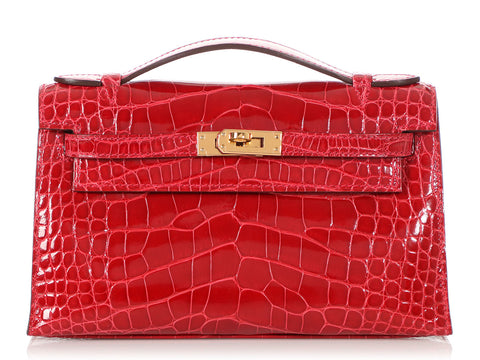 Hermès Braise Shiny Alligator Kelly Pochette