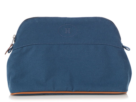 Hermès Blue Canvas and Barenia Trim Bolide Cosmetics Case