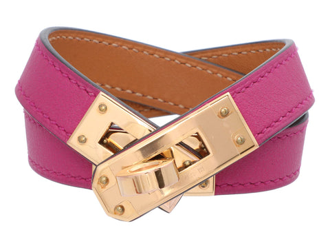 Hermès Rose Pourpre Swift Kelly Double Tour Bracelet