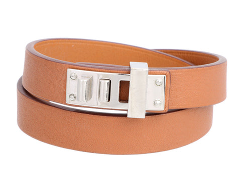 Hermès Gold Swift Double Tour Mini Dog Bracelet