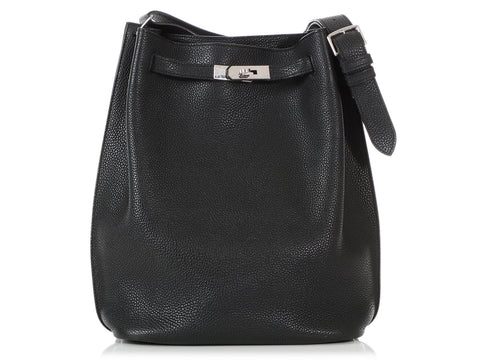 Hermès Black Chèvre So Kelly 26