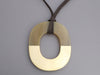 Hermès Gold Lacquered Horn and Natural Horn Isthme Pendant Necklace