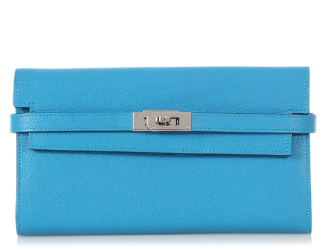 Hermès Long Blue Zanzibar Chèvre Mysore Kelly Wallet