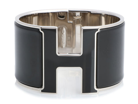 Hermès Extra Wide Black on Black Clic-Clac Bracelet PM
