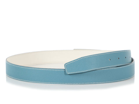 Hermès Bleu Jean and Blanc Reversible Belt Strap 32mm