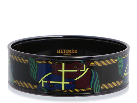 Hermès Wide Black PVD and Enamel Quadrige Bracelet 65