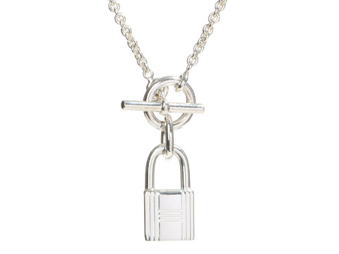 Hermès Sterling Silver Cadenas Lock Pendant Necklace