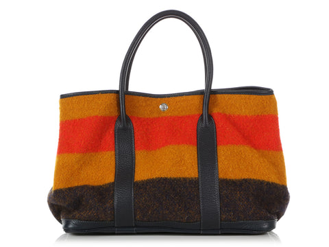 Hermès Tricolor Wool Rocabar and Black Clémence Garden Party Tote 36