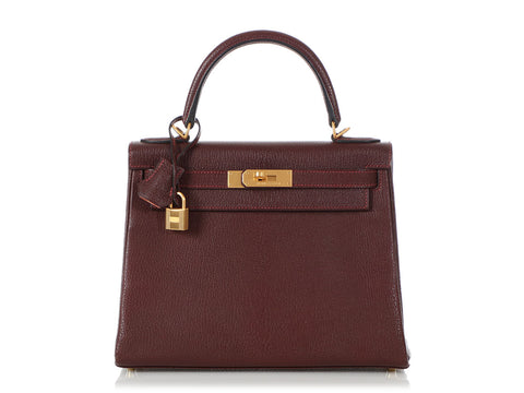 Hermès Special Order Prune Chèvre and Rosy Kelly 28