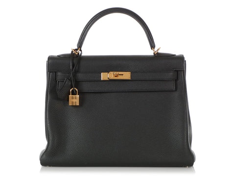 Hermès Black Togo Kelly 32