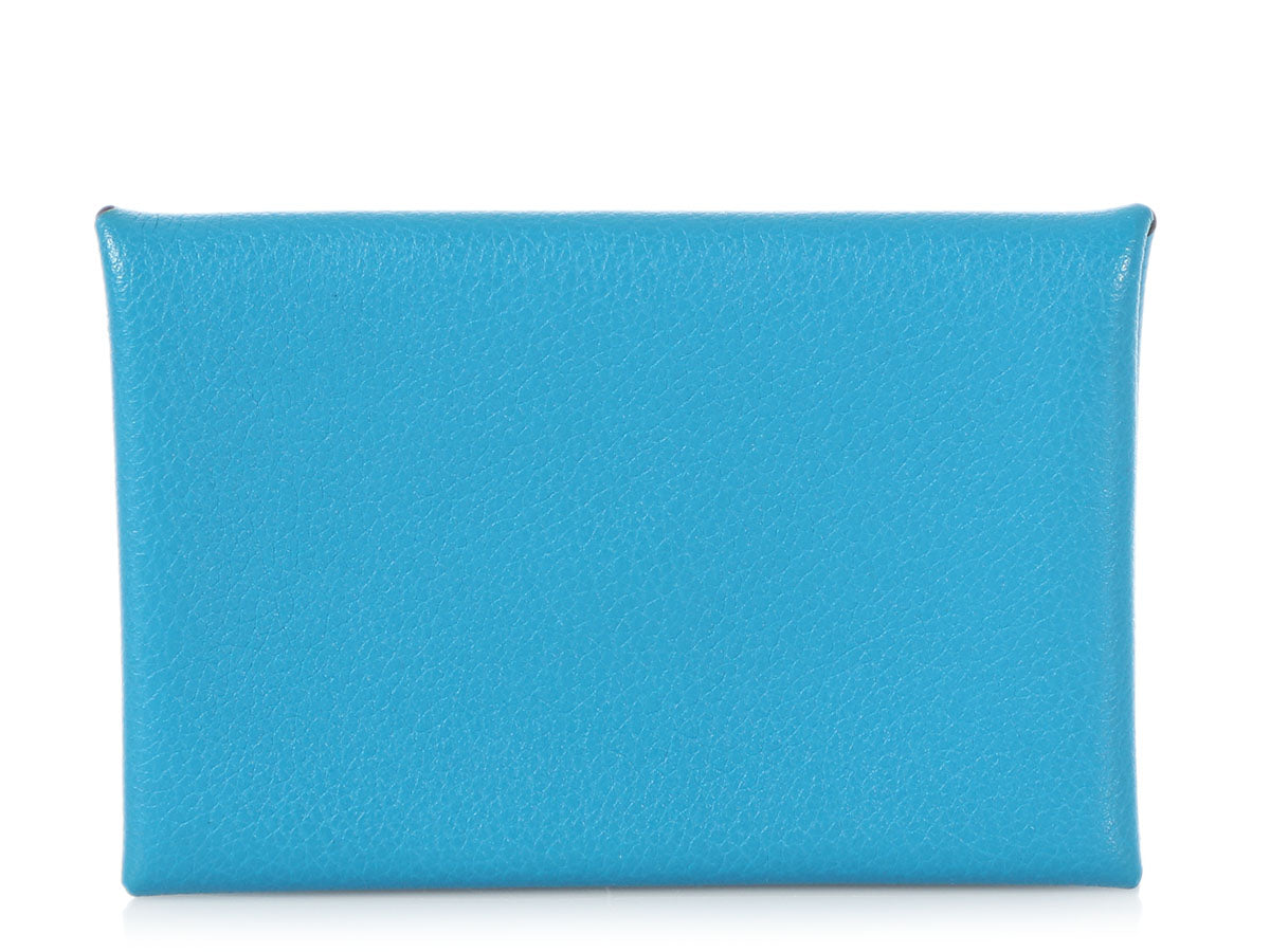 Hermès Bleu Zanzibar Evercolor Calvi Card Holder