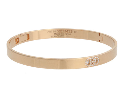 Hermès Small 18K Yellow Gold D'Ancre Diamond Bracelet SH