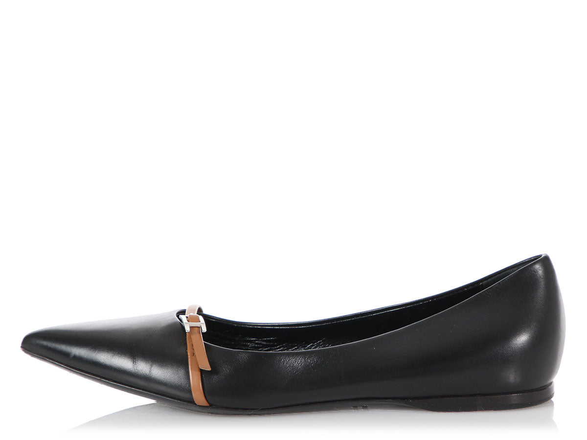 Hermès Black Pointed Toe Laura Flats