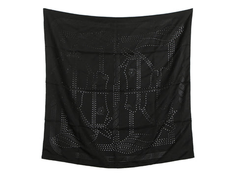Hermès Black Perforated Quadrige Silk Scarf 90cm