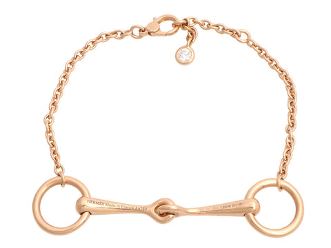 Hermès 18K Rose Gold Filet d'Or Bracelet SH