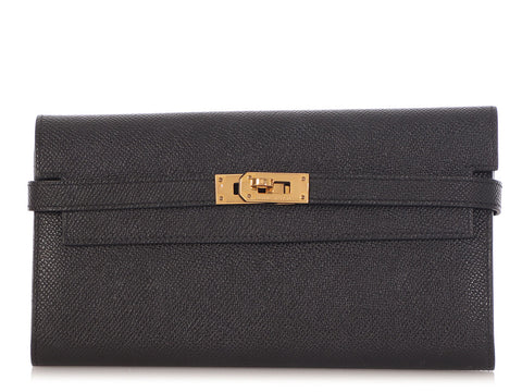 Hermès Black Epsom Kelly Long Wallet