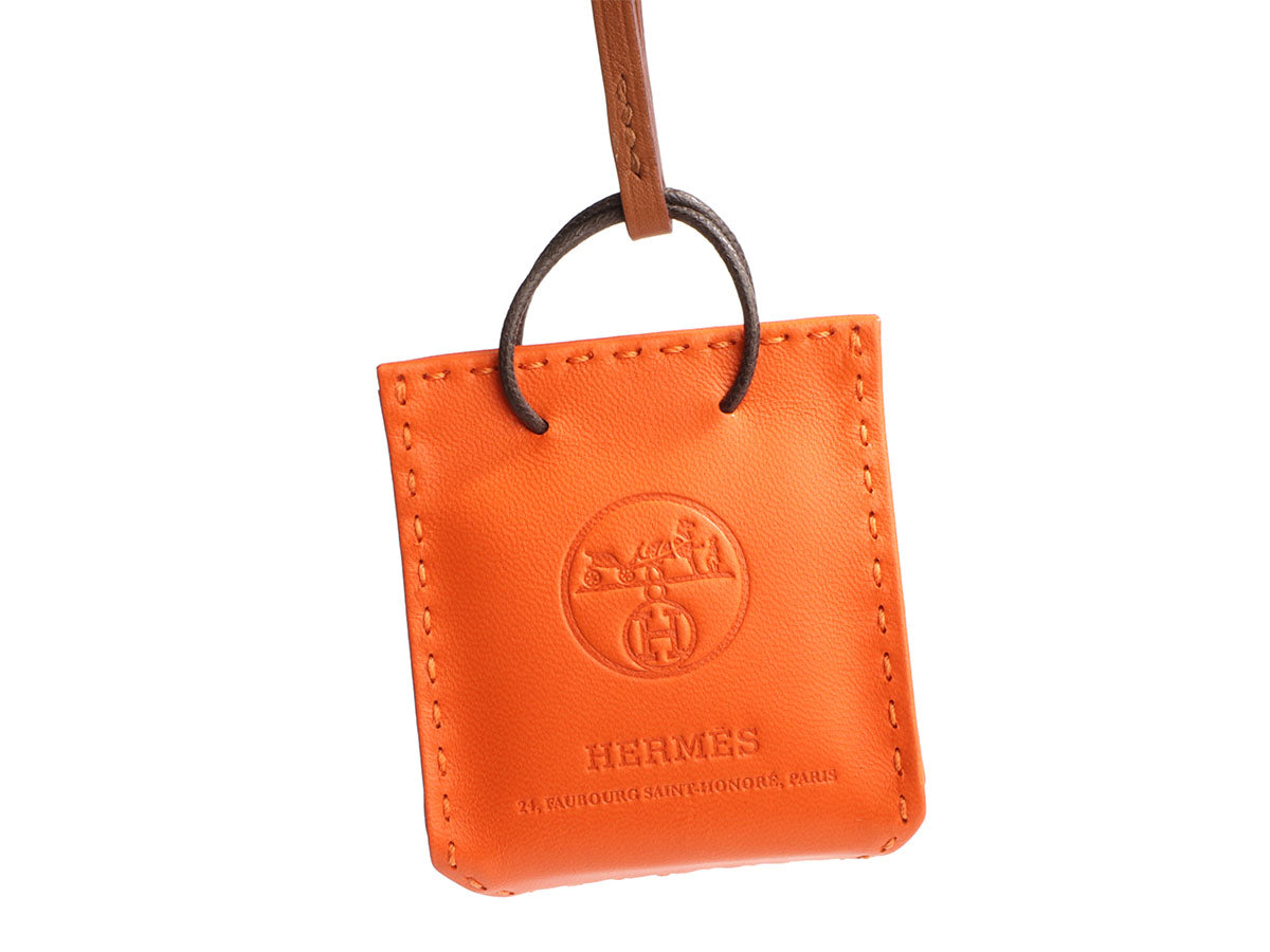 Hermès Feu Lambskin Shopping Bag Charm