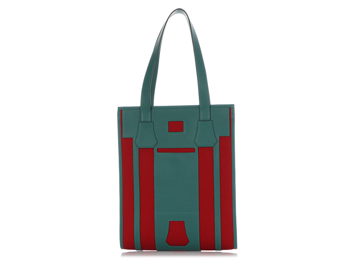 Hermès Green Calfskin and Red Cotton Canvas Petit H Bell Bag