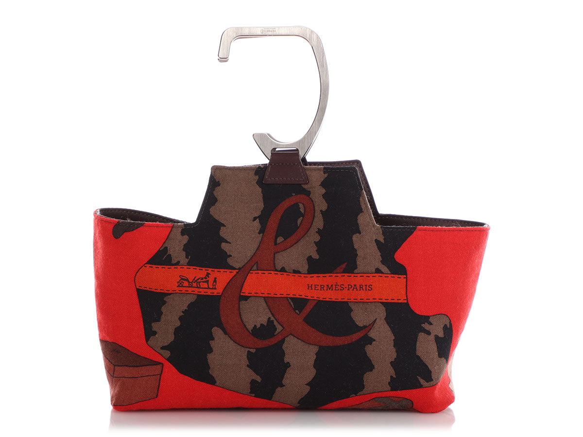 Hermès Brown Calfskin and Print Silk Petit H Stirrup Bag